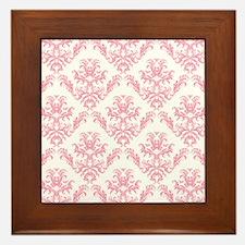 Pink Damask Pattern Framed Tile