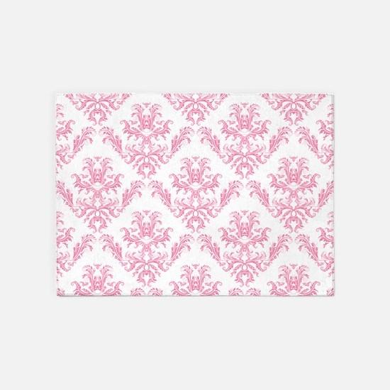 Pink Damask Pattern 5'x7'Area Rug
