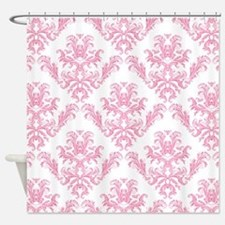 Pink Damask Pattern Shower Curtain