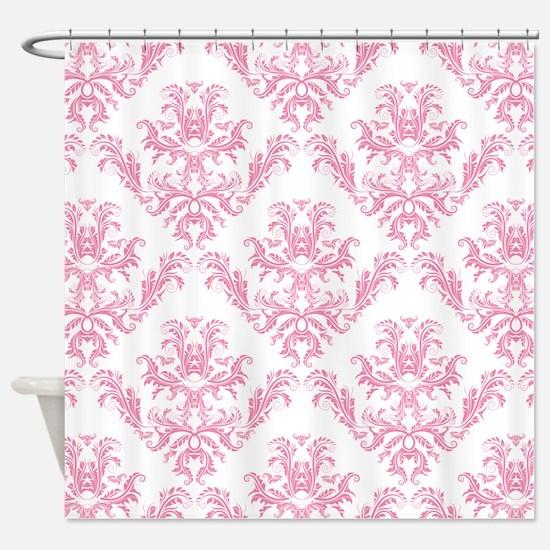 Pink Damask Pattern Shower Curtain