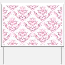 Pink Damask Pattern Yard Sign