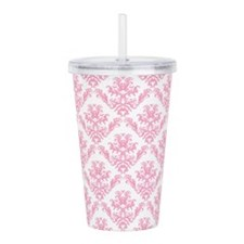Pink Damask Pattern Acrylic Double-wall Tumbler