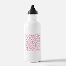 Pink Damask Pattern Sports Water Bottle