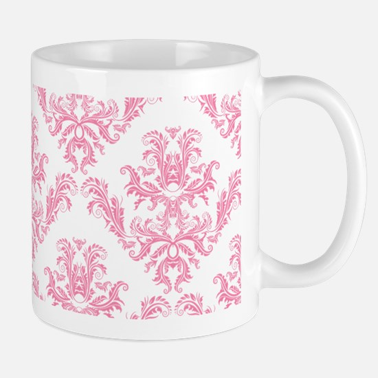 Pink Damask Pattern Mugs