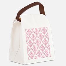 Pink Damask Pattern Canvas Lunch Bag