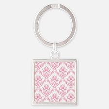 Pink Damask Pattern Keychains