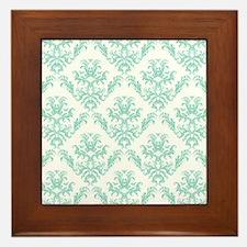 Damask Pattern Teal Framed Tile