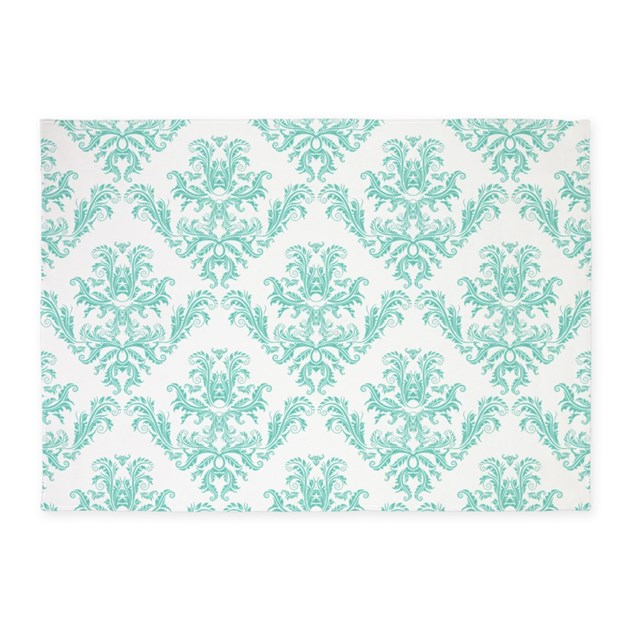 Damask Pattern Teal 5'x7'Area Rug By WickedDesigns4