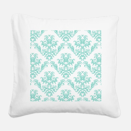 Damask Pattern Teal Square Canvas Pillow