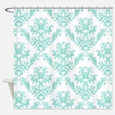 Damask Pattern Teal Shower Curtain