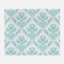 Damask Pattern Teal Throw Blanket