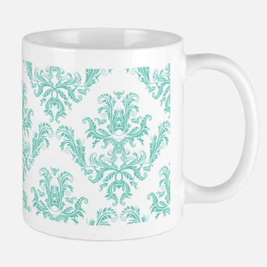 Damask Pattern Teal Mugs
