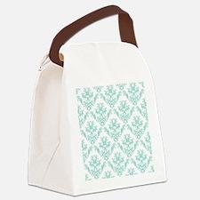 Damask Pattern Teal Canvas Lunch Bag