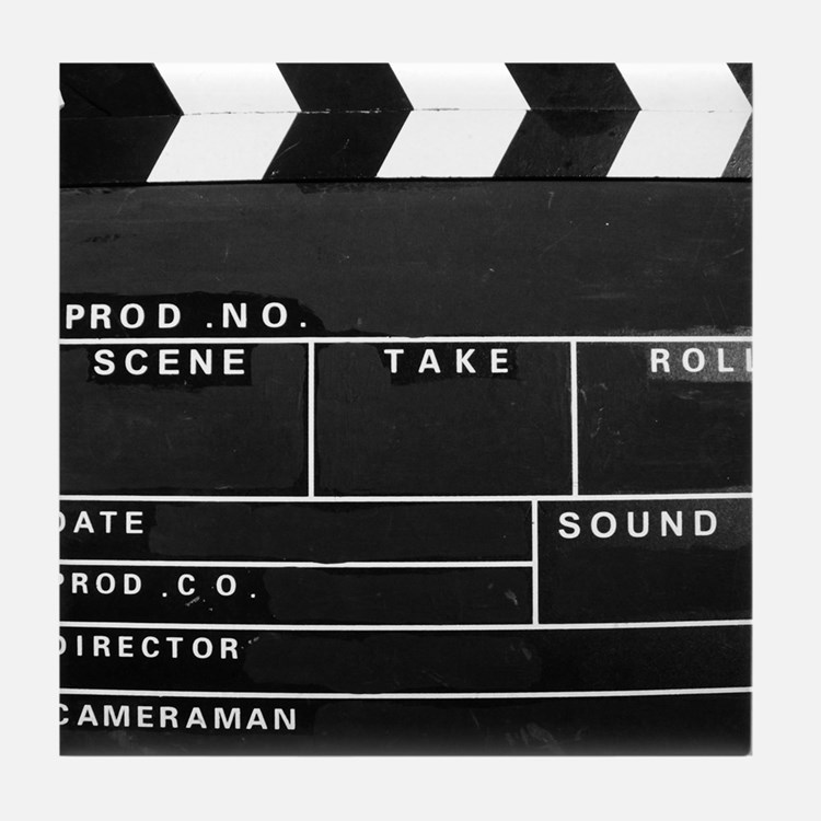 Clapperboard for movie making Tile Coaster