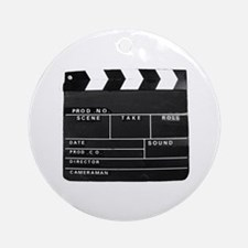 Clapperboard for movie making Round Ornament