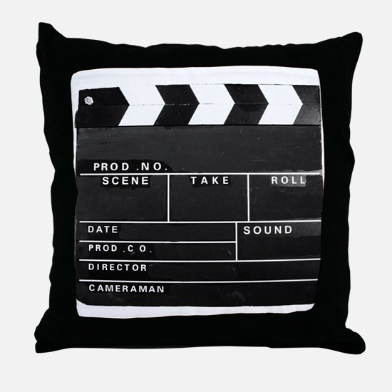 Clapperboard for movie making Throw Pillow