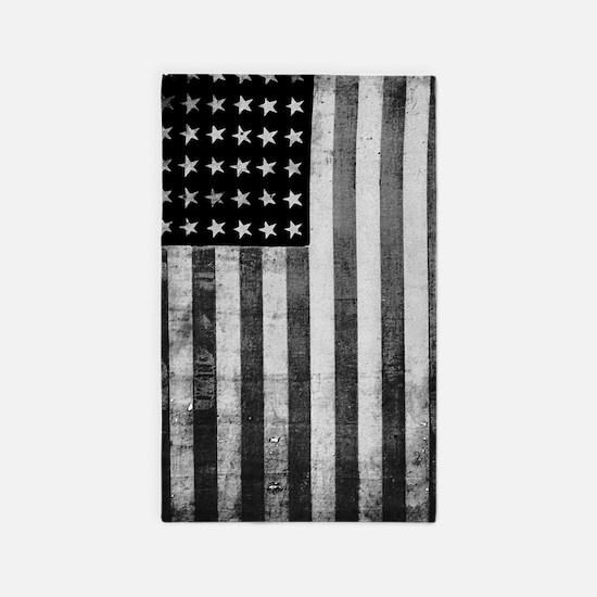 American Vintage Flag Black and White Area Rug