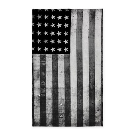 American Vintage Flag Black And White Area Rug