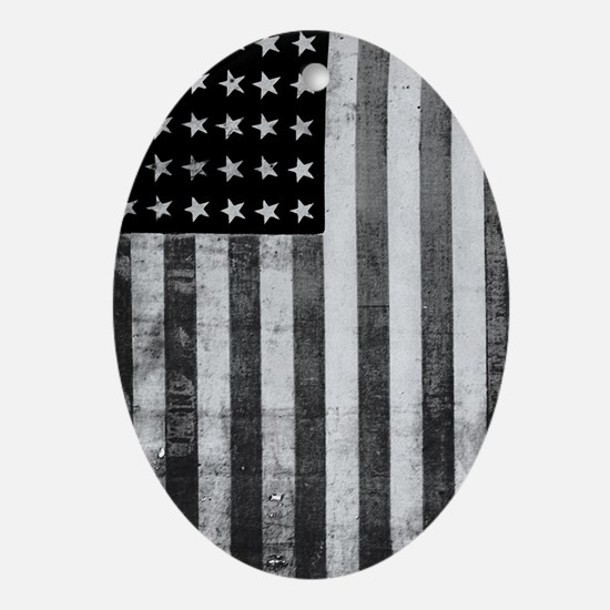 American Vintage Flag Black and Whit Oval Ornament