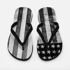 American Vintage Flag Black and White Flip Flops