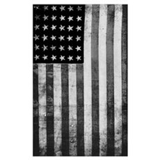 American Vintage Flag Black and White Canvas Art