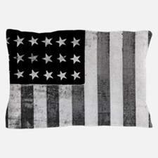 American Vintage Flag Black and White Pillow Case