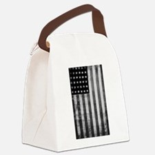 American Vintage Flag Black and W Canvas Lunch Bag