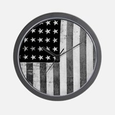American Vintage Flag Black and White Wall Clock