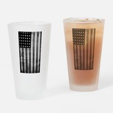 American Vintage Flag Black and Whi Drinking Glass