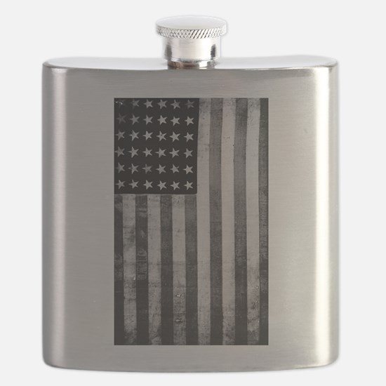 American Vintage Flag Black and White Flask