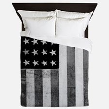 American Vintage Flag Black and White Queen Duvet