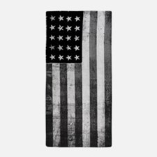 American Vintage Flag Black and White Beach Towel