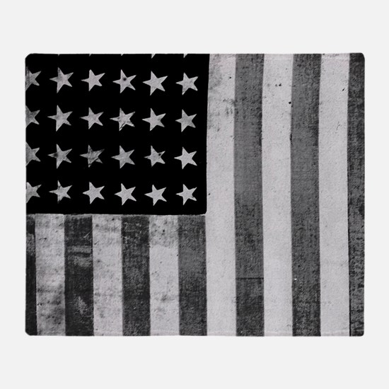American Vintage Flag Black and Whit Throw Blanket