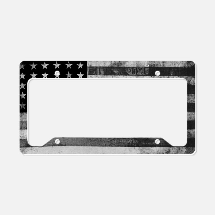 American Vintage Flag Black a License Plate Holder
