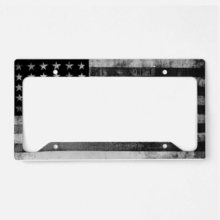 Black And White American Flag Licence Plate Frames Black