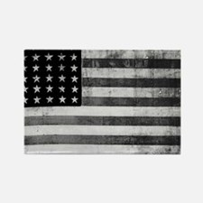 American Vintage Flag Black and W Rectangle Magnet