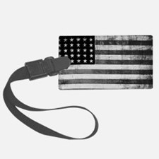 American Vintage Flag Black and  Luggage Tag