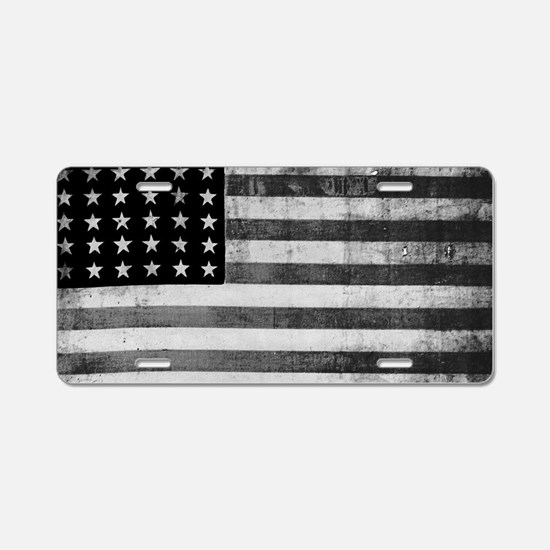 American Vintage Flag Black Aluminum License Plate
