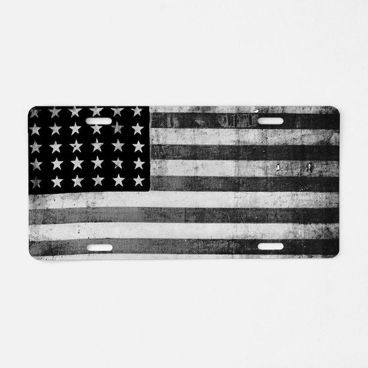 American Vintage Flag Black Aluminum License Plate