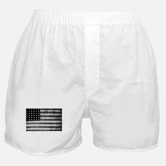 American Vintage Flag Black and White Boxer Shorts