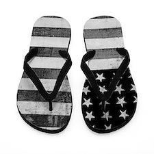 American Vintage Flag Black and White h Flip Flops