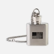 American Vintage Flag Black and Whi Flask Necklace