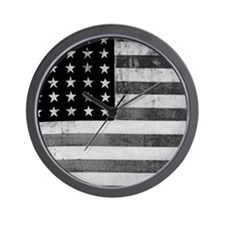 American Vintage Flag Black and White h Wall Clock
