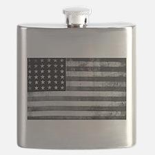 American Vintage Flag Black and White horizo Flask