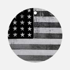 American Vintage Flag Black and Whi Round Ornament