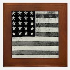 American Vintage Flag Black and White Framed Tile