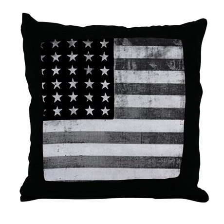 American Vintage Flag Black and White Throw Pillow by ...