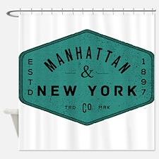 Manhattan New York City Vintage Log Shower Curtain