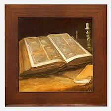 Van Gogh Still Life with Bible Framed Tile