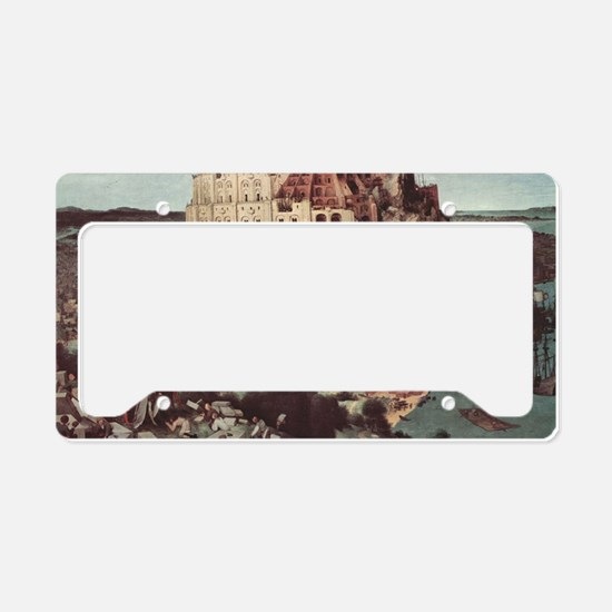 Tower of Babel by Pieter Brue License Plate Holder